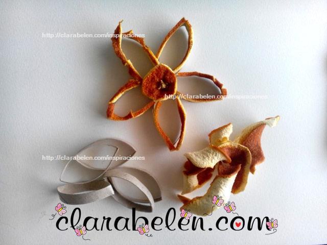 flor rollo de cartón y cascara de naranjas