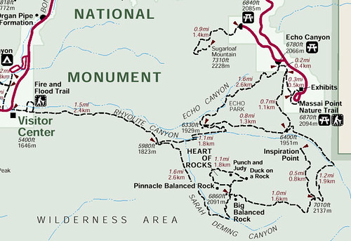 Trail map of the Ed Riggs Trail, Mushroom Rock Trail, Big Balancing Rock Trail, Heart of Rocks Trail, Sarah Deming Trail, Upper Rhyolite Trail, Lower Rhyolite Trail, Hailstone Trail, and Echo Canyon Trail, Chiricahua National Monument, Arizona