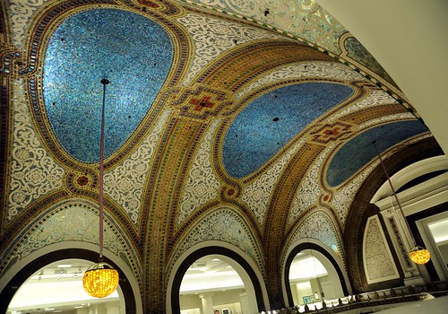 Mosiac ceiling and lamps, blue and ornate, Macy's, Chicago, Illinois, USA by Wonderlane