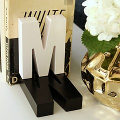 "Shadow Monogram Bookends"" style="
