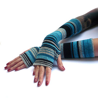 Warm Cashmere Arm Warmers , fingerless gloves , mittens - wrist warmers , cuffs , grey , stripes , christmas