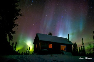 Aurora Borealis over a Cabin Yellowknife, NWT.