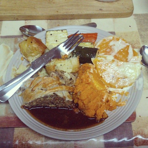 2af4475882 Messy  vegetarianchristmas decadence - my plate piled high with butternut  gratin