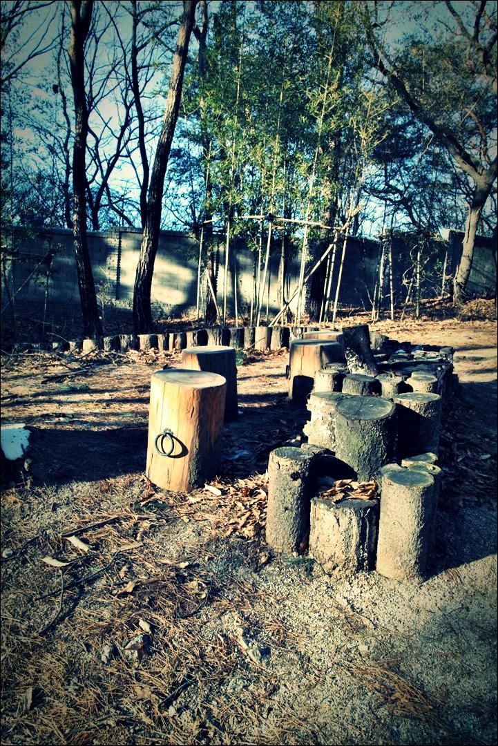 통나무 의자-'부암동 석파정'