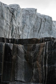 Rock patterns against ice