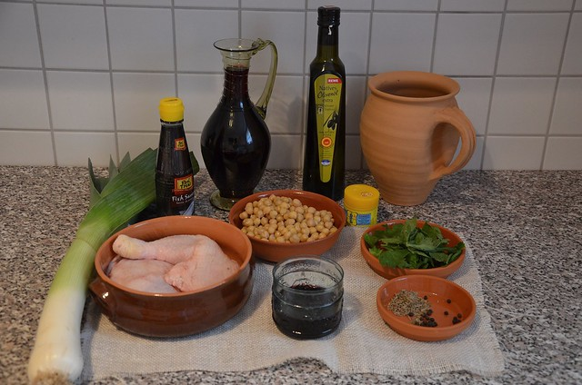 Parthian Chicken & Chickpeas accompanied with Date Paste and Roman red wine - Ingredients