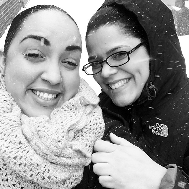 Leslie & I trooping it in the snow for lunch lol! @tainaraiza I almost fell 4 or 5 times lol #snow #nycsnow #snowday