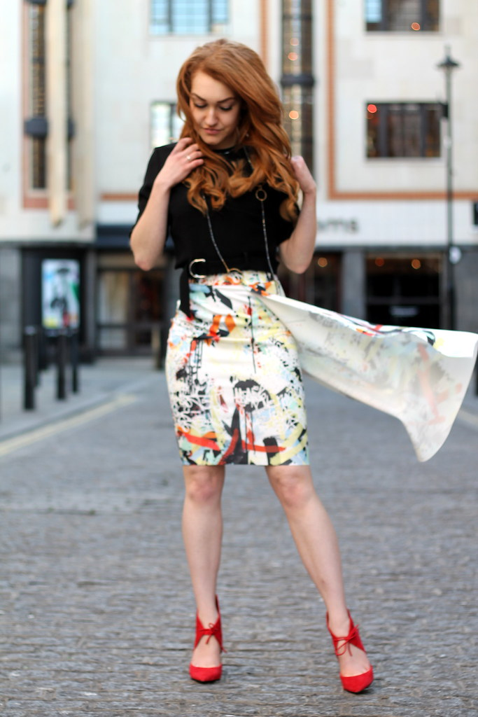 Zara PRINTED ASYMMETRIC SKIRT (4)