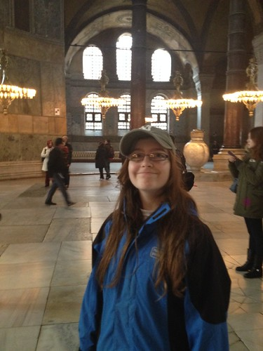 girl inside the Hagia Sophia in istanbul
