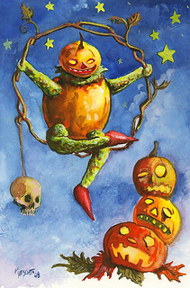 Halloween postcard painting 2008