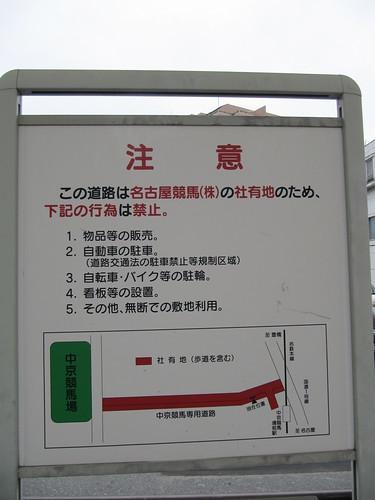 名古屋競馬株式会社の社有地での禁止事項
