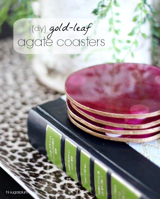 Hi Sugarplum | DIY Gold Leaf Agate Coasters
