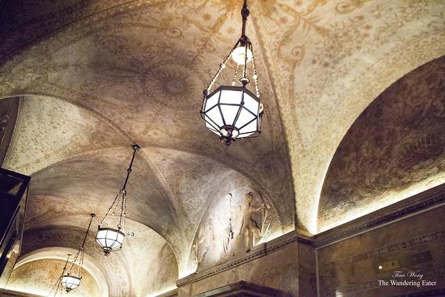 Tall, original ceilings of the Villard Mansion
