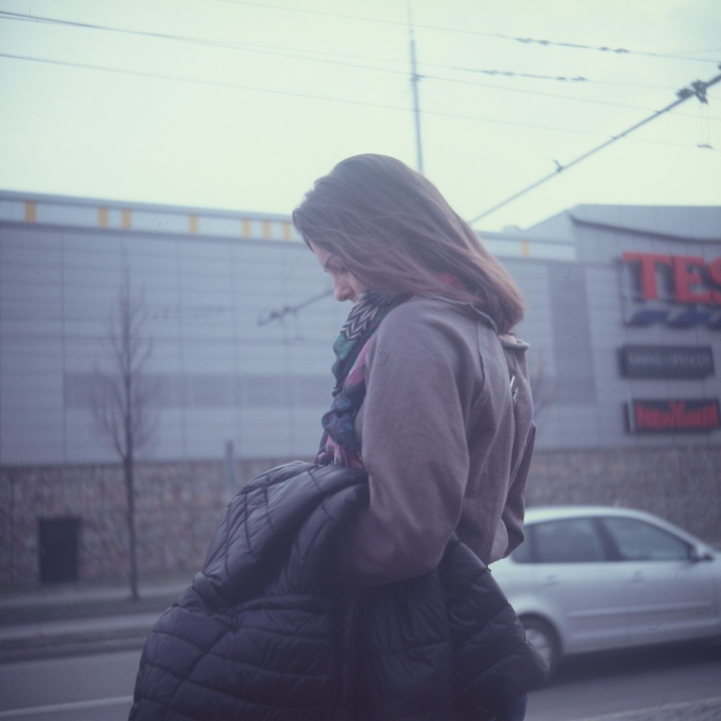 Lubitel 2 - Woman at Crosswalk