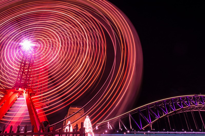 Long exposure of a Ferris Wheel from Luna Park