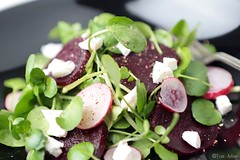 Beetroot carpaccio with watercress and feta salad