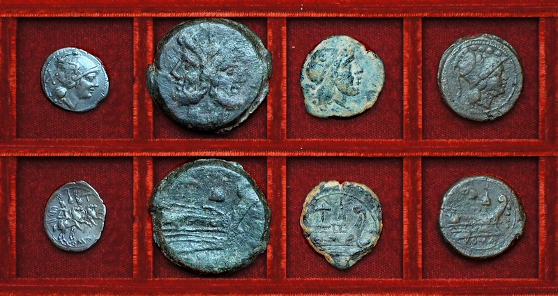 RRC 059 apex and hammer, denarius, as, semis, triens, Ahala collection, coins of the Roman Republic