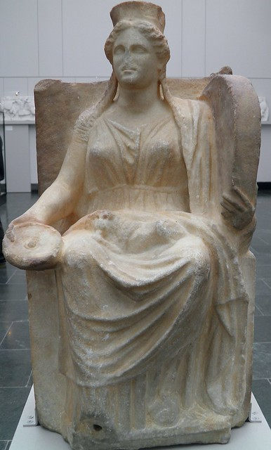 Marble statue of Cybele holding a tympanum in her left hand and a patera in her right hand, 4th century BC, Staatliche Antikensammlungen, Munich