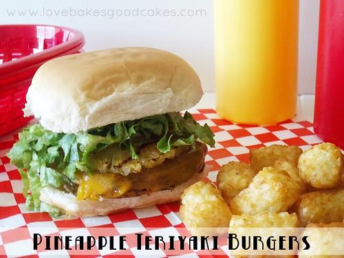Pineapple Teriyaki Burger with tater tots, ketchup and mustard.