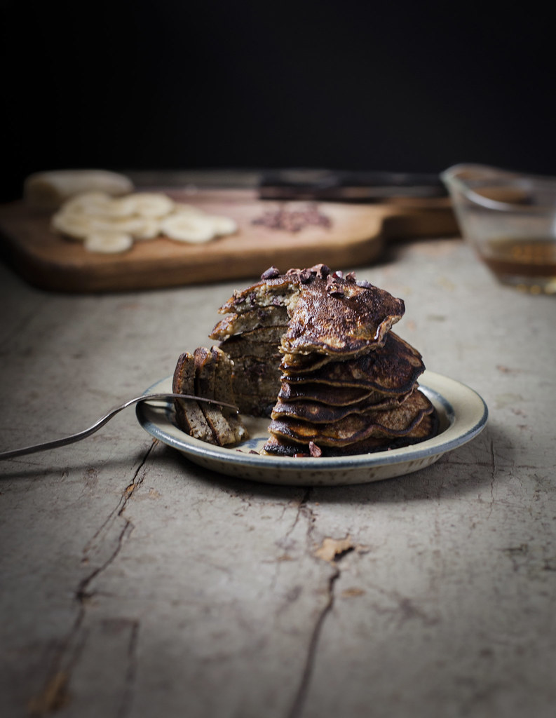Banana Buckwheat Pancakes with Cacao Nibs