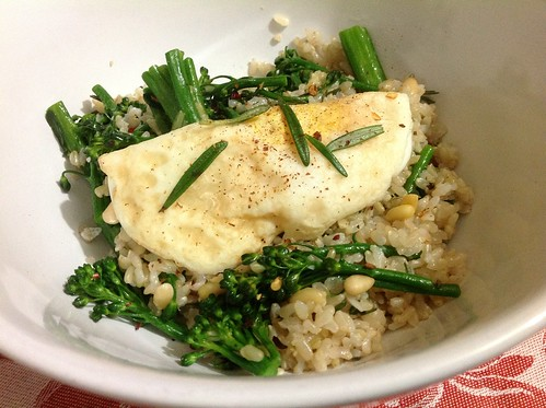 Rosemary Broccolini and Fried Egg Over Rice