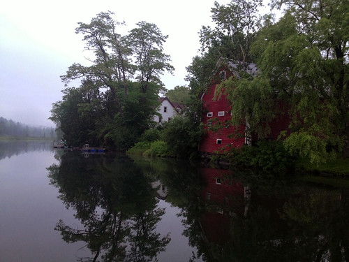 trees red summer lake water fog reflections vermont barns brookfield iphoneography