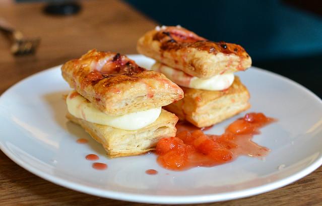 Santa Rosa Plum Napoleon puff pastry, rosemary cream, opal basil, ginger plum sauce