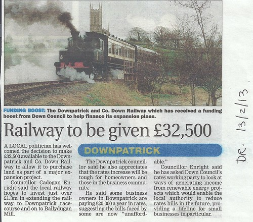 13th Feb 2013Down Railway Gets £32k essentail to its expansion by CadoganEnright