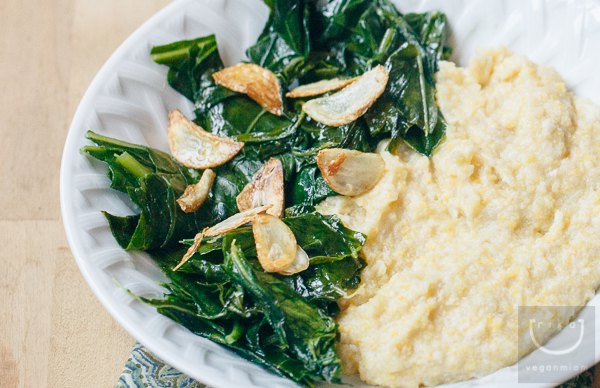 Vegan Creamy Grits + Garlicky Collard Greens