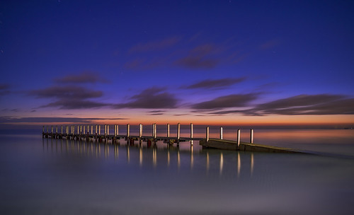 blue orange colour water sunrise reflections bay boat ramp long exposure purple pentax smooth australia burn le wa startrails boatramp rrs geographe 645d