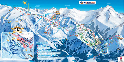 Les 2 Alpes - mapa sjezdovek