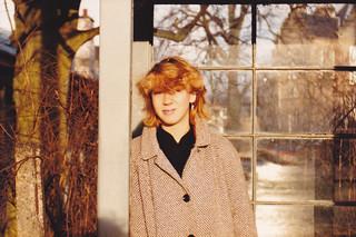 Julia, the old 41 bus stop on Greenbank Drive, Edinburgh, Dec 1984