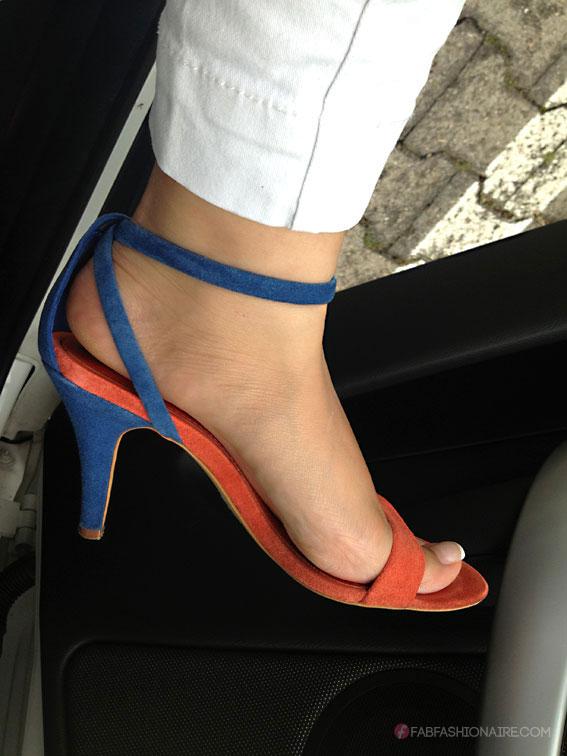 bright in orange, white and blue