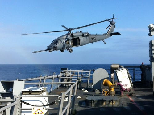 U.S. Air Force HH-60G Pave Hawk helicopter from the 55th Helicopter Rescue Squadron conducts deck landing qualifications