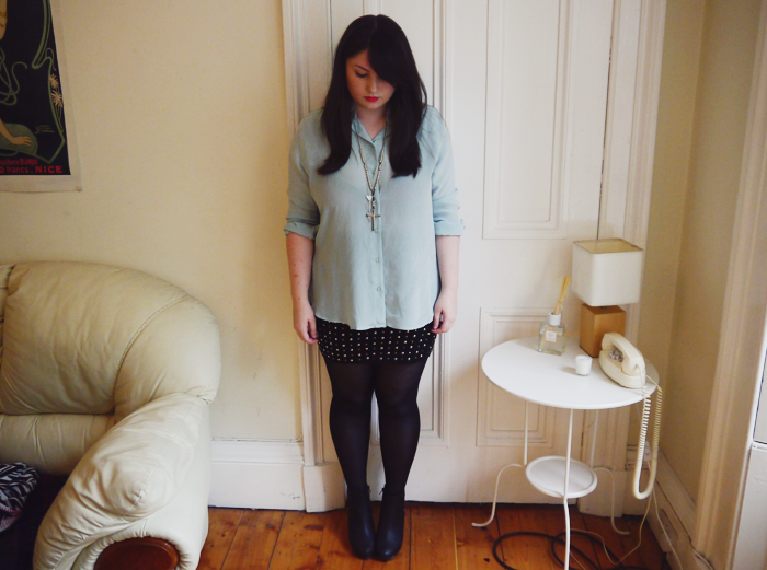 uniqlo mint silk shirt outfit 5