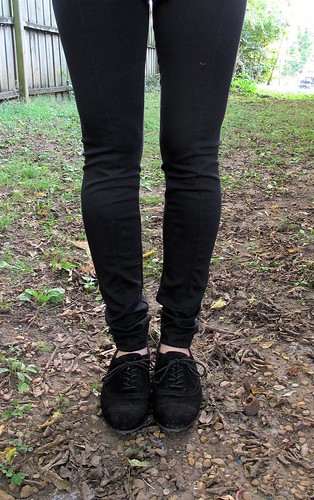 Black ponte leggings made with Mood Fabrics.