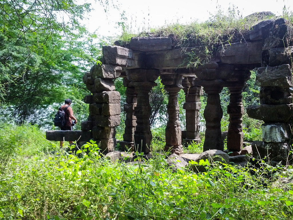 Lovell entering temple ruins at the Lonar lake