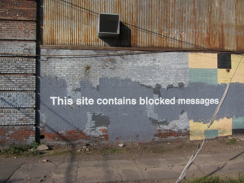 Banksy NYC, Greenpoint, This Site Contains Blocked Messages by Scoboco