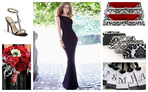 {Black, Red, White} Bridesmaids Style Inspiration by Nina Renee Designs