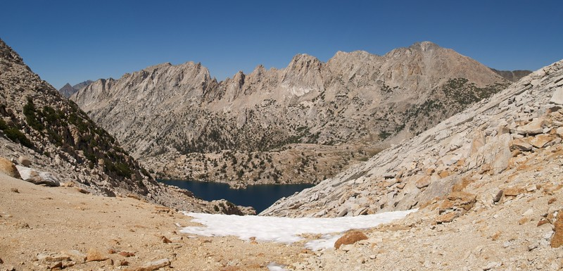 View north from Don't Be A Smart Pass, elevation 11180 feet, looking down at Upper McCabe Lake and the Shepherd Crest