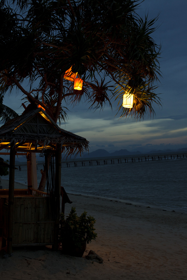 Taling Ngam  Samui Thailand sunset beach resort evening lights