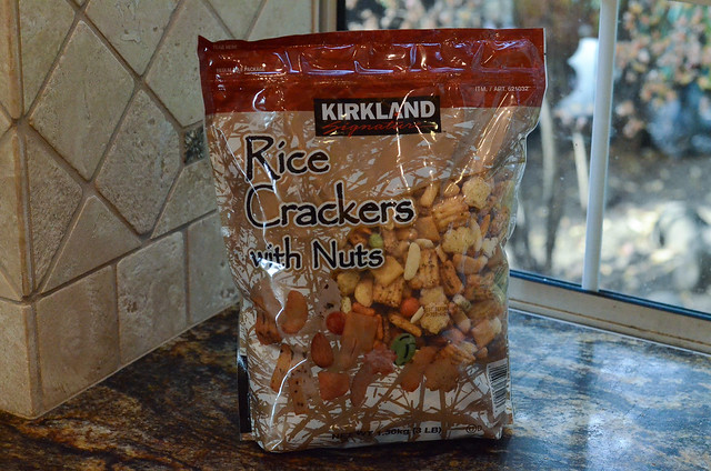 A bag of Kirkland Rice Crackers with Nuts.