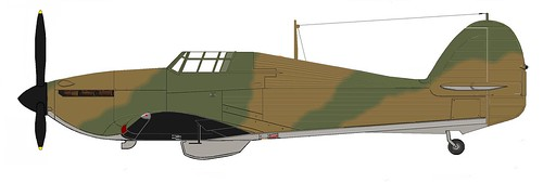 "Hawker Hurricane, 1939, dH 2speed, ""A"" pattern camo, Port profile, Blk Wht Alu under v.12"