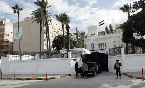 Egyptian embassy in Tripoli where four diplomats were abducted on January 25, 2014. A militia group holding them are demanding the release of their leader. by Pan-African News Wire File Photos