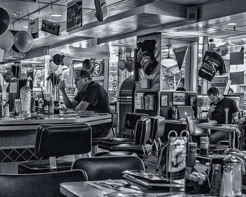 Contemplative dining at Mel's Diner (black and white) by joeeisner