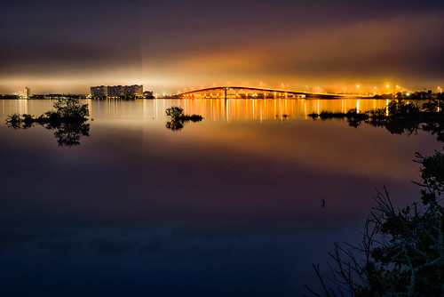 longexposure bridge sky usa mist reflection building water fog architecture river landscape lowlight cityscape florida explore titusville