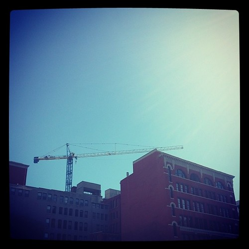 The tower crane at Seventh and Broadway in downtown Cincinnati...