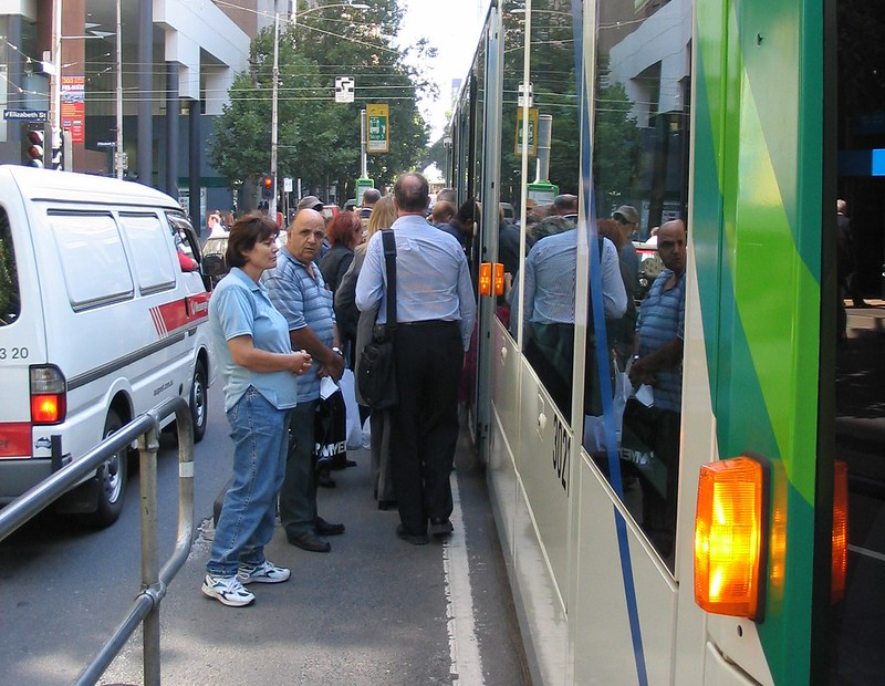 Collins Street at Elizabeth Street, tram stop (March 2004)