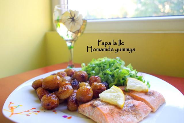 Somon la cuptor, cartofi cu rozmarin si salata (6)