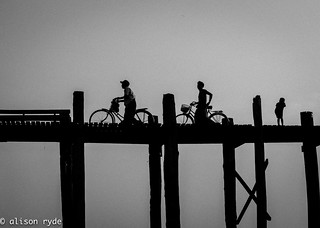 Cyclists on ubein bridge